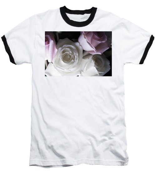 Pink And White Roses Baseball T-Shirt by Jennifer Ancker