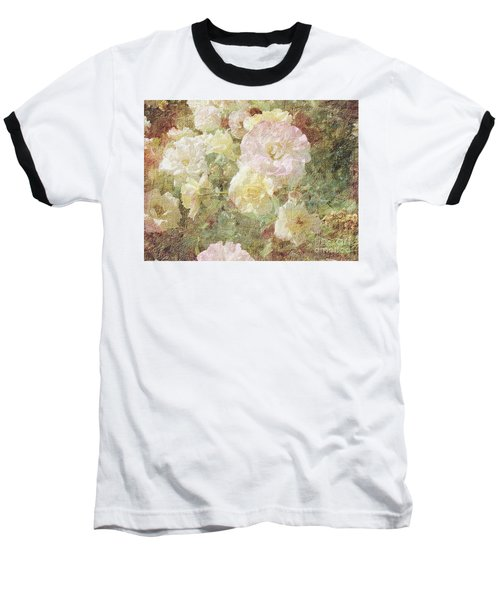 Pink And White Roses With Tapestry Look Baseball T-Shirt