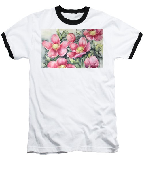 Baseball T-Shirt featuring the painting Pink Anemones by Inese Poga