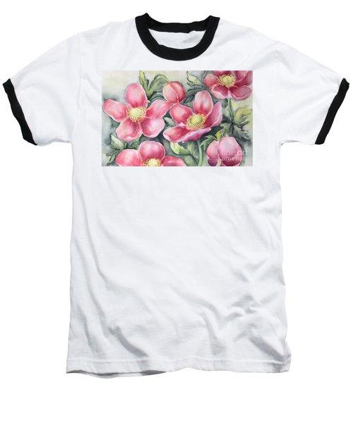 Pink Anemones Baseball T-Shirt by Inese Poga
