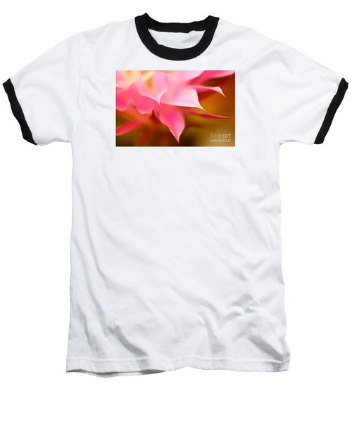 Pink Cactus Flower Abstract Baseball T-Shirt by Michael Cinnamond