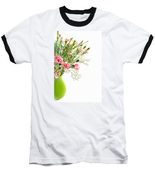 Pink Carnation Flowers Baseball T-Shirt