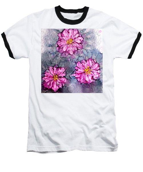 Pink Dahlia Blooms Alcohol Inks Baseball T-Shirt