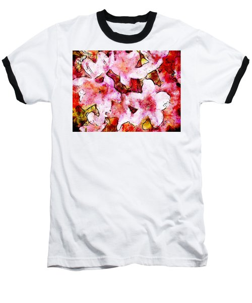 Pink Flowers 2 Baseball T-Shirt by Greg Collins