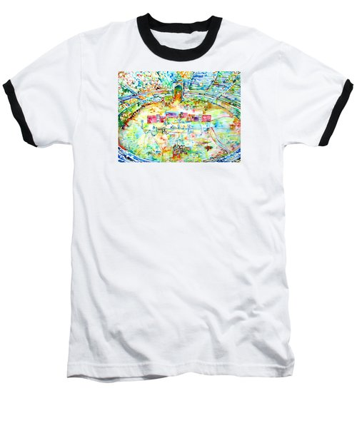 Pink Floyd Live At Pompeii Watercolor Painting Baseball T-Shirt