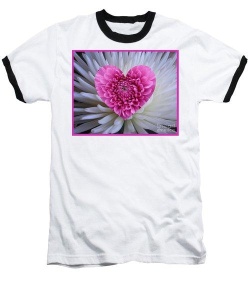 Pink Heart On White Baseball T-Shirt