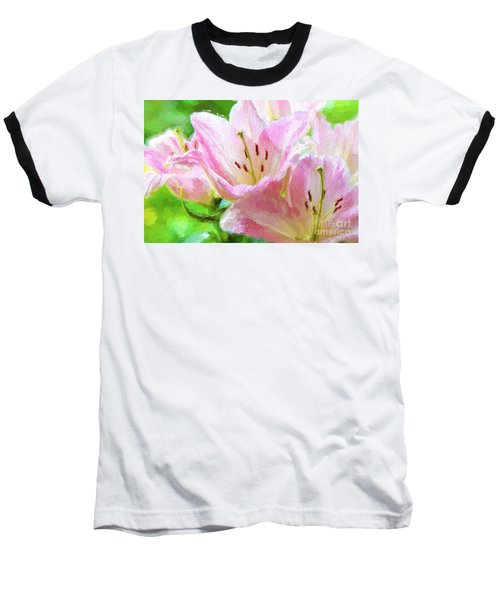 Pink Lilies Digital Painting Impasto Baseball T-Shirt