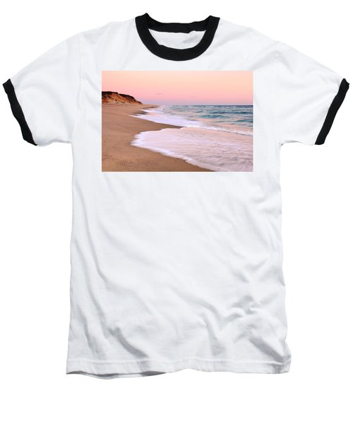 Pink Pastel Beach And Sky Baseball T-Shirt