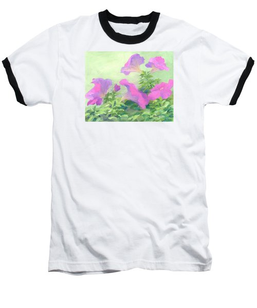 Pink Petunias Beautiful Flowers Art Colorful Original Garden Floral Flower Artist K. Joann Russell  Baseball T-Shirt