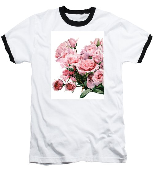 Pink Rose Bouquet Baseball T-Shirt by Greta Corens