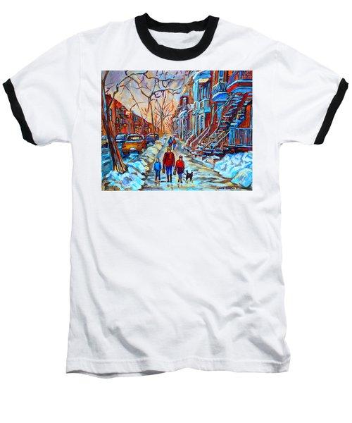 Plateau Montreal Street Scene Baseball T-Shirt