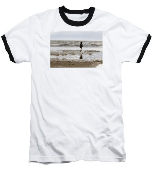 Baseball T-Shirt featuring the photograph Girl Playing In Sea Foam by Haleh Mahbod