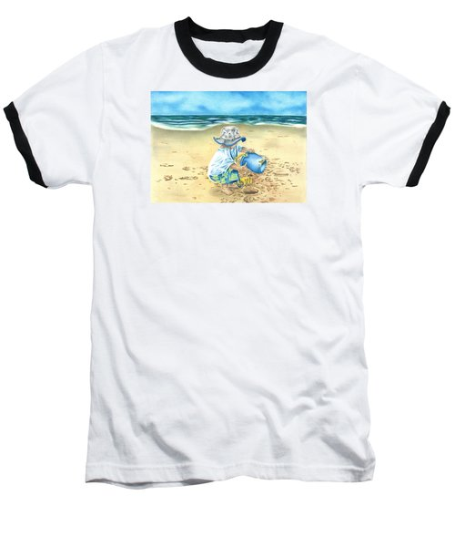 Baseball T-Shirt featuring the drawing Playing On The Beach by Troy Levesque