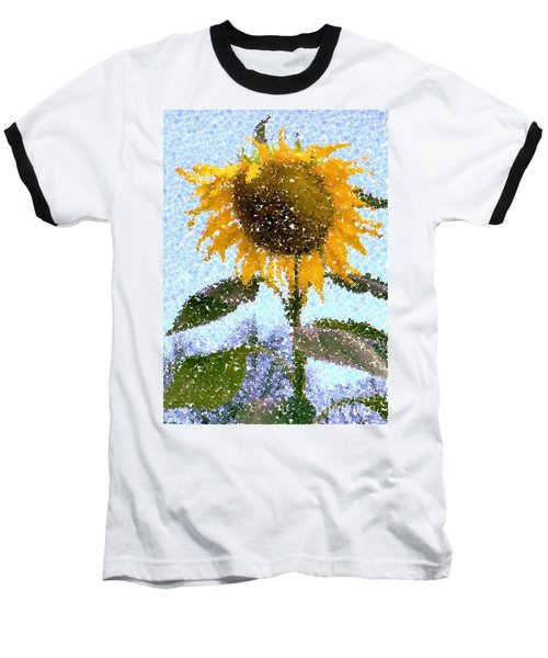 Pointillist Sunflower In Sun City Baseball T-Shirt