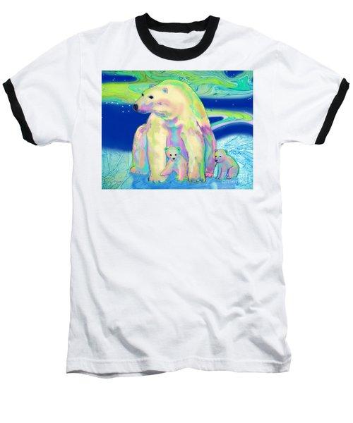 Polar Bear Aurora Baseball T-Shirt by Teresa Ascone