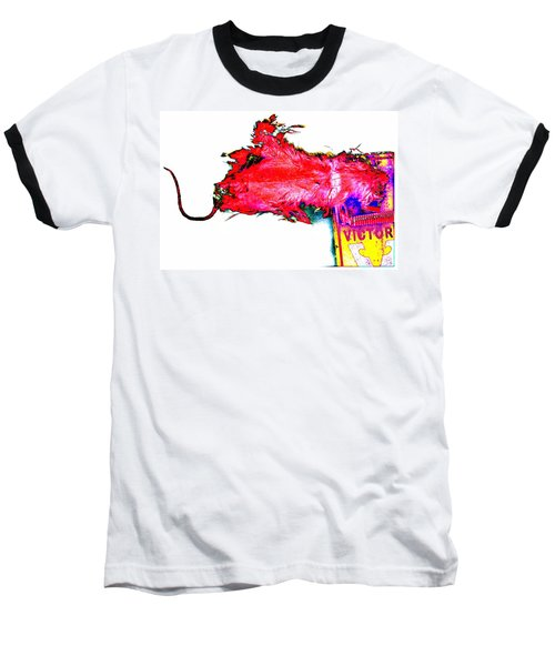 Pop Art Mousetrap Baseball T-Shirt by Marianne Dow