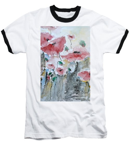Baseball T-Shirt featuring the painting Poppies 01 by Ismeta Gruenwald