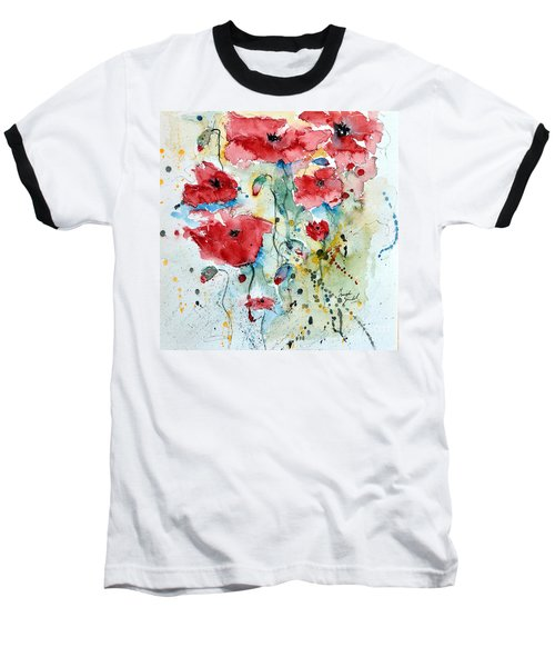 Baseball T-Shirt featuring the painting Poppies 04 by Ismeta Gruenwald