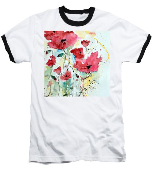 Baseball T-Shirt featuring the painting Poppies 05 by Ismeta Gruenwald