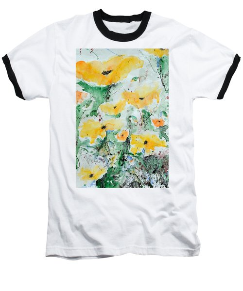 Baseball T-Shirt featuring the painting Poppies 07 by Ismeta Gruenwald