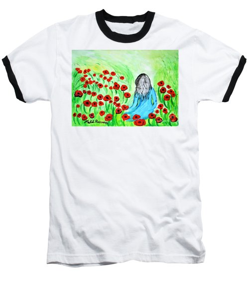 Poppies Field Illusion Baseball T-Shirt