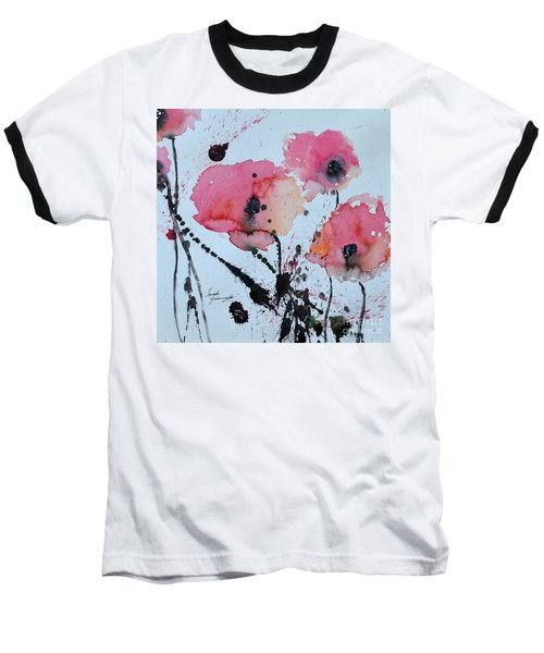 Baseball T-Shirt featuring the painting Poppies- Painting by Ismeta Gruenwald