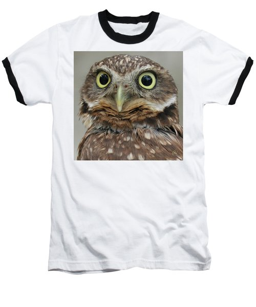 Portrait Of Burrowing Owl Baseball T-Shirt by Ben and Raisa Gertsberg