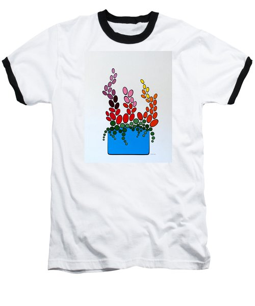 Potted Blooms - Blue Baseball T-Shirt