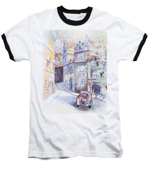 Prague Golden Well Lane Baseball T-Shirt by Marina Gnetetsky