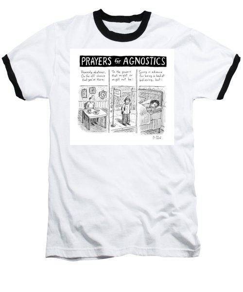 Prayers For Agnostic -- Three Panel Cartoon Baseball T-Shirt