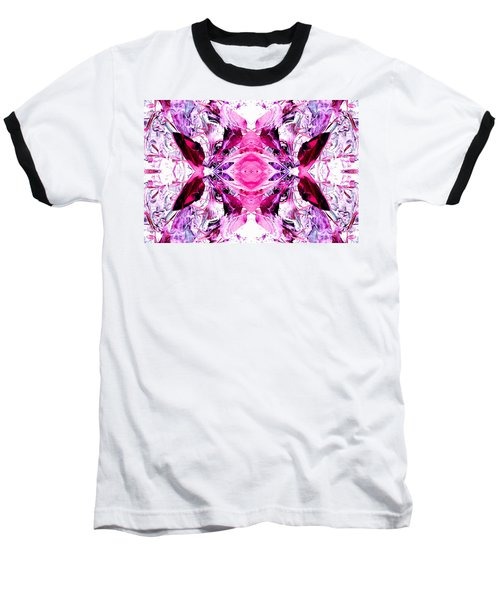Pretty Pink Weeds Abstract  3 Baseball T-Shirt by Marianne Dow