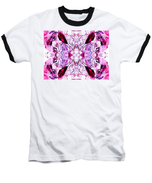 Pretty Pink Weeds Abstract  4 Baseball T-Shirt by Marianne Dow