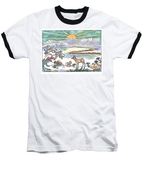 Pronghorn Winter Sunrise Baseball T-Shirt by Dawn Senior-Trask