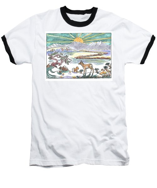 Pronghorn Winter Sunrise Baseball T-Shirt
