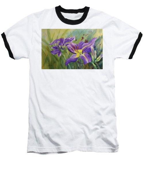 Purple Day Lily Baseball T-Shirt