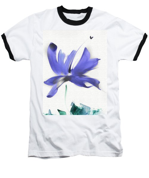 Baseball T-Shirt featuring the mixed media Purple Iris In The Greenery by Frank Bright