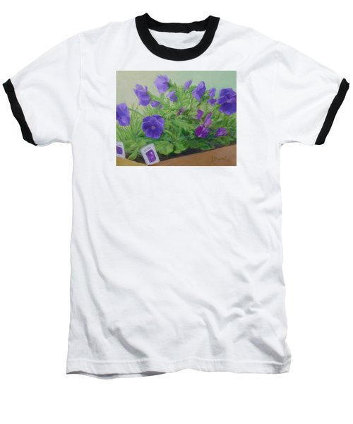 Purple Pansies Colorful Original Oil Painting Flower Garden Art  Baseball T-Shirt by Elizabeth Sawyer