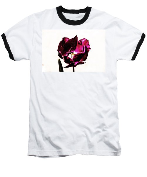 Purple Tulip Baseball T-Shirt by Angela DeFrias