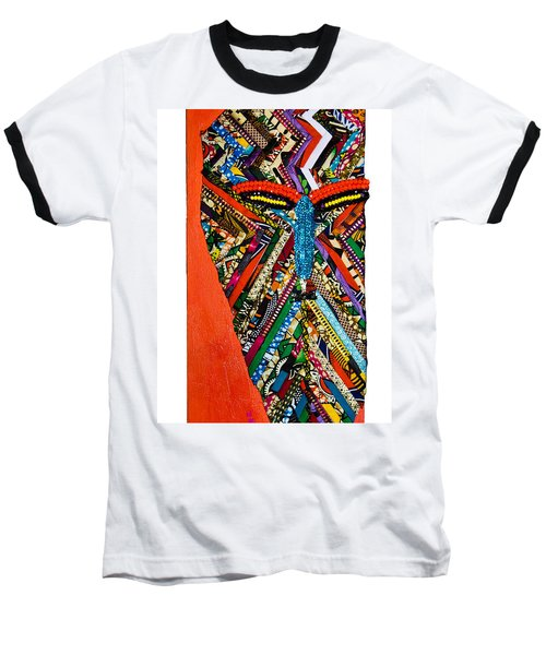 Baseball T-Shirt featuring the tapestry - textile Quilted Warrior by Apanaki Temitayo M