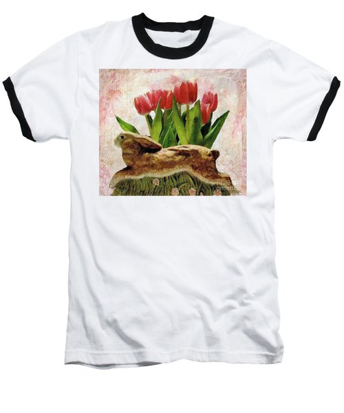 Rabbit And Pink Tulips Baseball T-Shirt