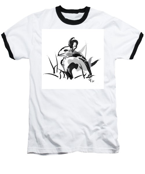 Baseball T-Shirt featuring the painting Rabbit Bunny Black White Grey by Go Van Kampen