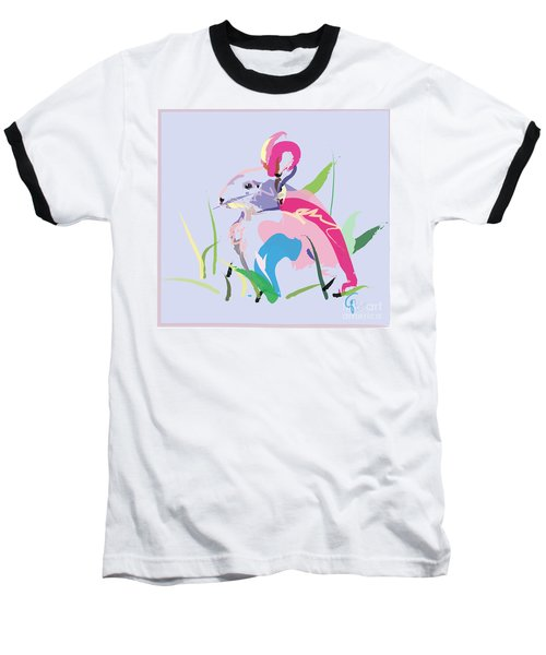 Rabbit - Bunny In Color Baseball T-Shirt