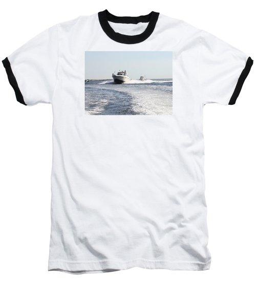 Racing To The Docks Baseball T-Shirt by John Telfer
