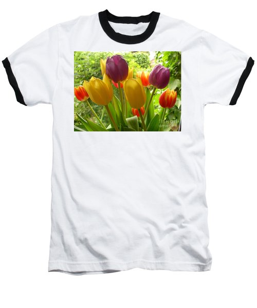 Rainbow Tulips  Baseball T-Shirt