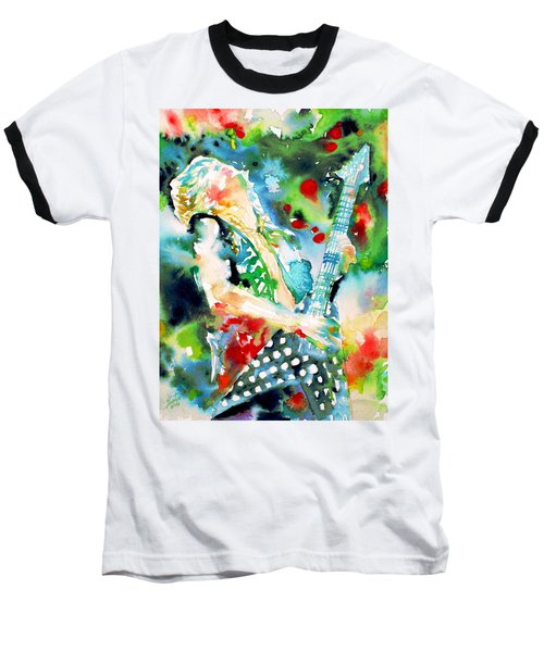 Randy Rhoads Playing The Guitar - Watercolor Portrait Baseball T-Shirt