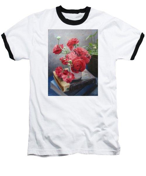 Ranunculus On Books Baseball T-Shirt by Connie Schaertl