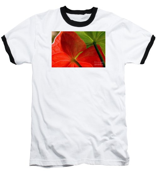 Baseball T-Shirt featuring the photograph Red And Green Anthurium by Ranjini Kandasamy