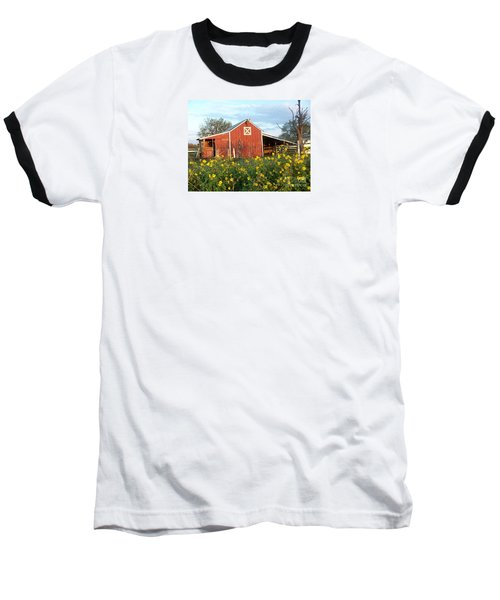Red Barn With Wild Sunflowers Baseball T-Shirt by Susan Williams
