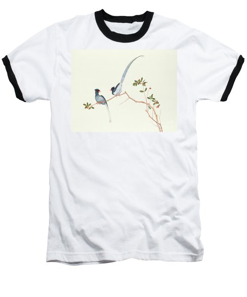 Red Billed Blue Magpies On A Branch With Red Berries Baseball T-Shirt