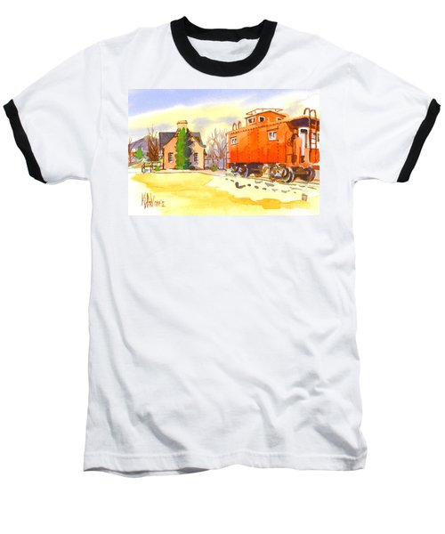 Red Caboose At Whistle Junction Ironton Missouri Baseball T-Shirt by Kip DeVore